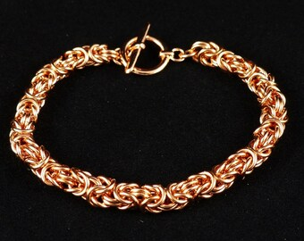 "7.25"" Bright Copper Byzantine Bracelet"