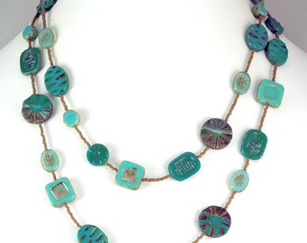Jade Tone Long Czech Glass Bead Necklace
