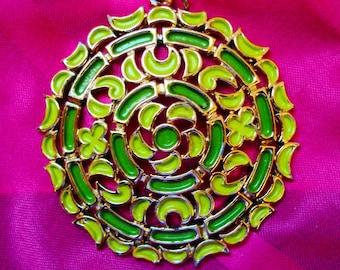Vintage Green Enamel Necklace Pendant signed JJ