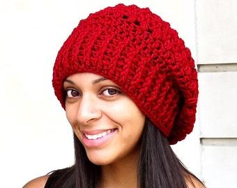 Crochet Slouchy Hat, Oversized Slouchy, Tam Hat, Crochet Hat, Color is Cranberry,
