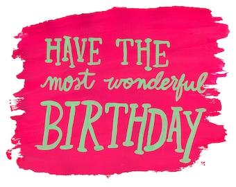 Most Wonderful Birthday - Blank Notecard - Greeting card