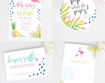 BUNDLE Aloha Baby Shower | Printable  Invite, Advice Card, Banner, Champagne tag, Diaper Raffle
