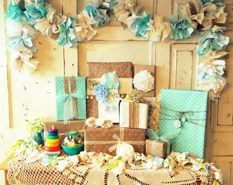 I'ts a Boy Baby Shower Decoration. Burlap, Blue and Cream Fabric Garland Banner Handmade Eco-friendly Baby Shower Decor, 6-10 feet