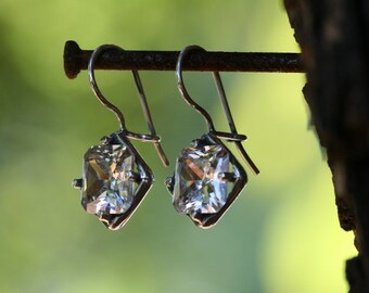 White CZ  Earrings,  Silver Earrings, Handmade 925 Silver Earrings, White stone Earrings
