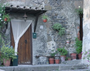 Home entrance with door and pots- Italy