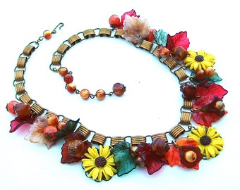 Celluloid Necklace, Book Chain Charm Statement Necklace Sunflowers Leaves Bells Bobbles Beads Vintage Costume Jewelry