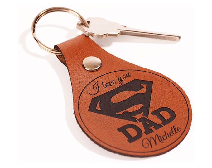 Gift for Dad Keychain, Personalized Leather Engraved, Keyring, Key Chain Key Ring, Gift for Dad
