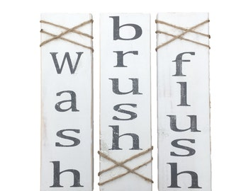 Wash Brush Flush Wood Sign, Bathroom Wall Decor, Bathroom Art, White and gray, Distressed, Rustic, House warming, Wedding gift