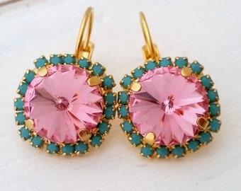 Pink and turquoise Swarovski crystal drop earrings, gold earrings, Bridesmaid earrings, Crystal pink drop earrings, Swarovski earring