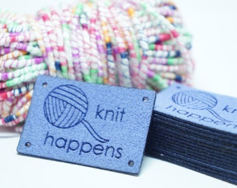 knit happens labels with holes for easy attaching
