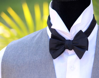 Mens bowtie Black bow tie men's self tie bow tie Self Tied bow tie Black tie