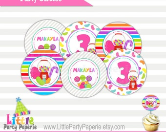 Candy Birthday | Candy Shop | Cupcake Toppers | Party Circles | Digital | Printable | Design 15050