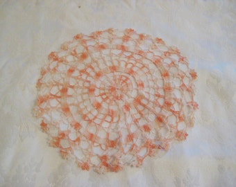 Peach pink crochet lace doily, hand made, hand done, mid century, 50s 60s, 12 inch doily, shabby cottage chic decor, 1109