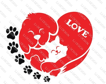 Dog cat love valentine