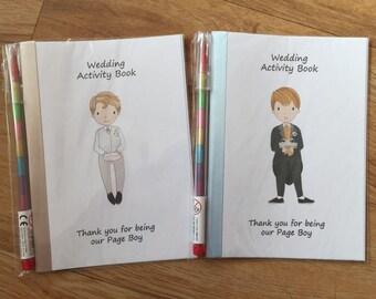 A6 Children's Kids Wedding Activity Pack, Colouring Book, Favour, PAGE BOY Design