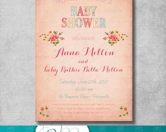 Shabby Chic Baby Shower Invitation - Pink - Floral - Birthday - Bridal  Shower - Digital