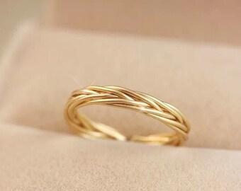 Rapunzel Gold Adjustable Braided Ring