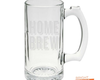 Home Brew - Etched 25oz Glass Beer Stein - The perfect vessel for moving beer to your mouth!