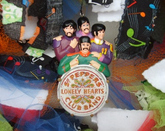 Beatles Sgt. Peppers Lonely Hearts Club Band Pre-Lit Rag Wreath