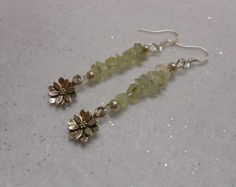 Prehnite Lotus Gemstone Earrings
