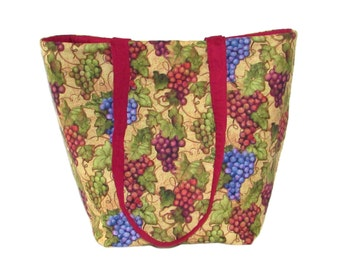 Grapes Tote Bag, Wine Cloth Purse, Handmade Handbag, Winery, Vineyard, Burgundy, Beige, Fabric Bag, Shoulder Bag