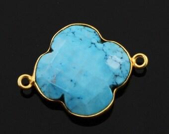 Natural Turquoise, Bezel Clover Gemstone Component, Gold Vermeil , 20mm, 1 Piece, (BZC8027)