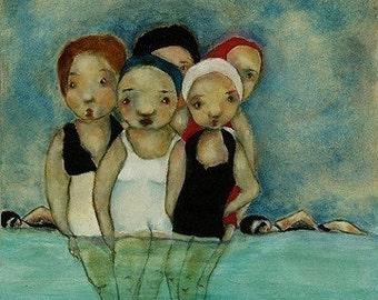 """Women art print/friends wall art/women figure art """"Sea Sirens Reunion"""""""