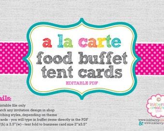 A La Carte FOOD BUFFET CARDS (Editable) - Tent Fold diy Digital Printable File