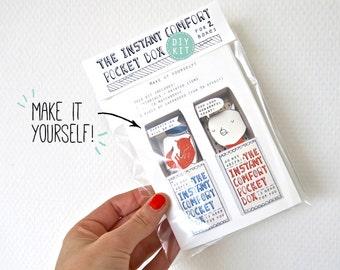 DIY kit - groen: voor 2 Instant Comfort Pocket dozen - cheer up en troost vakken - fox - pig - cadeau
