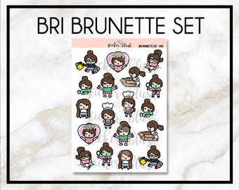 Bri Brunette Character kawaii planner stickers -  for use with Erin condren planner  - #69