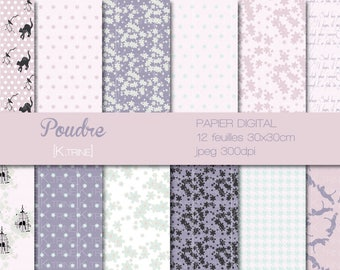 Digital paper 12 sheets for scrapbooking Pompon