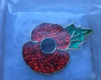 Enamel Poppy Pin Glitter Finish 25mm