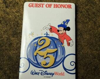 WDW 25th Anniversary Guest Of Honor Badge - Vintage Walt Disney World Souvenir 1996