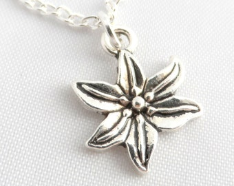 Silver Flower Necklace -  Lily Necklace - Lily Flower pendant