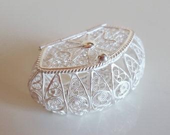 Silver Filigree box. Handmade.Authentic Maltese artwork. Malta Cross design.