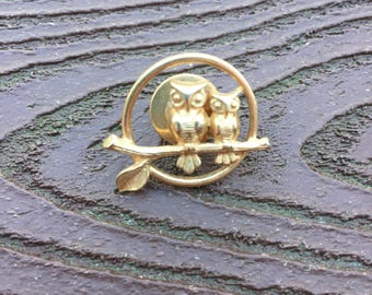 Vintage Jewelry Signed Avon Owl Moonlight Couple on Branch Pin Brooch