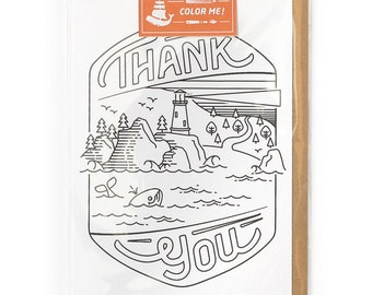 Coloring Cards, Thank You Card, Best Friend Card, Cards for Him or for Her - Thank You