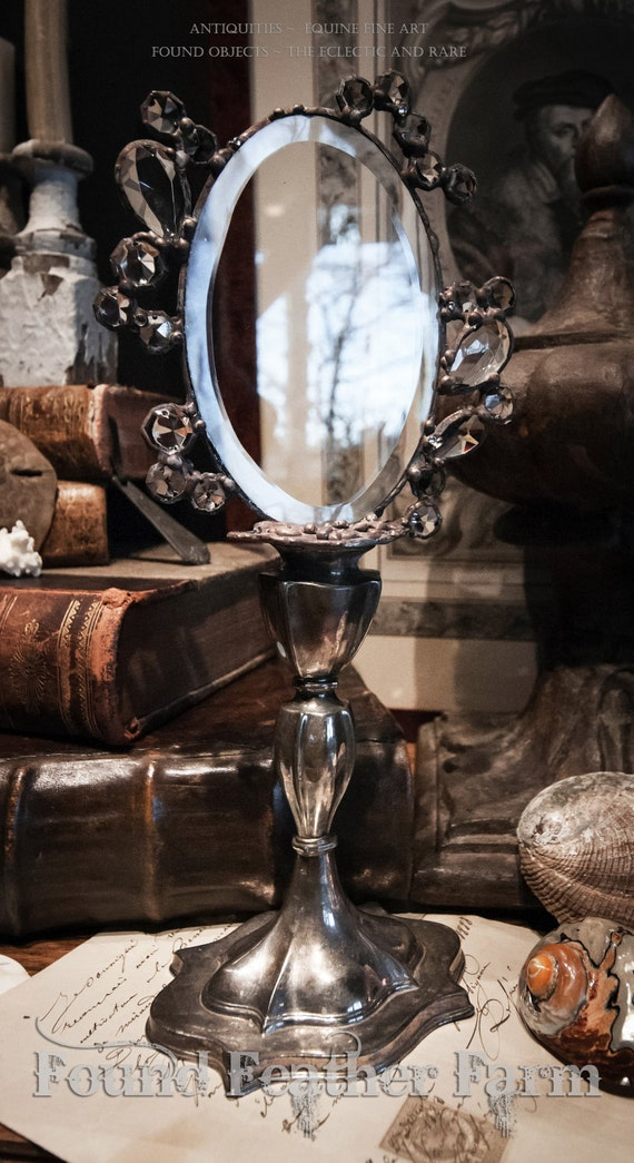 Glistening Tides Collection Vintage Silver and Crystal Handmade Looking Glass