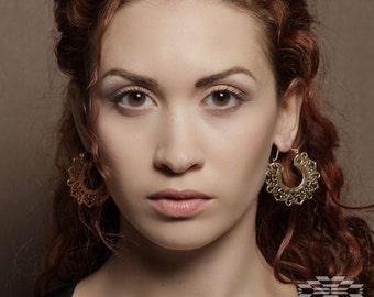 Earrings hoops, earrings indian,tribal earrings, gypsy earrings, indian earrings, brass jewelry, brass hoops