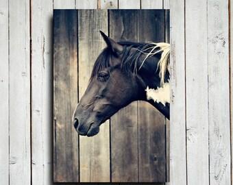 Paint Horse Head - Horse decor - Horse art - Animal photography - Horse photography - Equine decor - Black and white horse