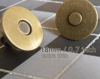 5 Sets Extra Thin Magnetic Snap Closures - 2mm slim (available in 18mm, 14mm diameter, nickel and antique brass)