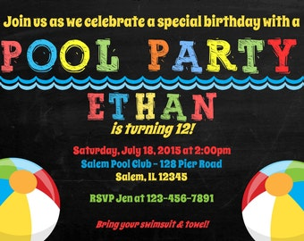 Pool Party Birthday Invitation -  (Digital File) / Pool Party Invitation / Beach Ball Invitation / Pool Birthday Invitation