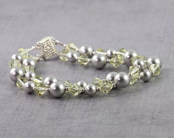 Gray Pearl Bracelet Pale Yellow Bracelet Wedding Bracelet Bridal Jewelry Gray Wedding Jewelry Crystal Bracelet Spring Jewelry Gift for Mom