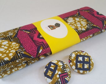 Valentines gift for women, Head wrap for women, Gift for her, Fabric button earrings, African earrings, African head wrap, Ankara head wrap