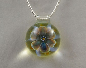 Glass Flower Pendant - Hand Blown Glass Necklace - Lampwork Glass Jewelry