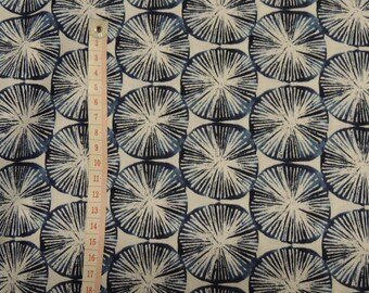 Fabric cotton blue pattern rosettes