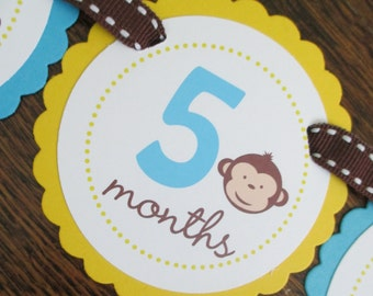 READY to SHIP Mod Monkey Collection: Just Born/0-12 mos Picture Banner. Monkey BOY First Birthday Banner. Turquoise and Yellow. Brown Banana