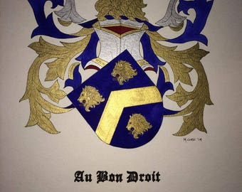 """Family Surname Heraldry - Coat of Arms Painting in Watercolor and Ink  11"""" x 14"""""""