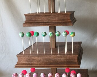 4 Tier Custom Made Wood Square Cake Pop Stand with Matching Decorative Sides.  Can Hold  Up To 344 Cake Pops.