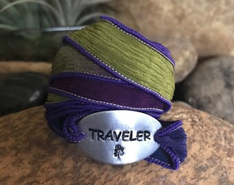 Traveler bracelet, silk wrap bracelet, traveler jewelry, graduation gifts, travel the world, explore jewelry, sightsee, excursion jewelry